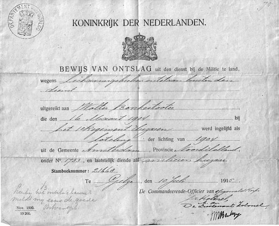 Ontslag uit militaire dienst 1915