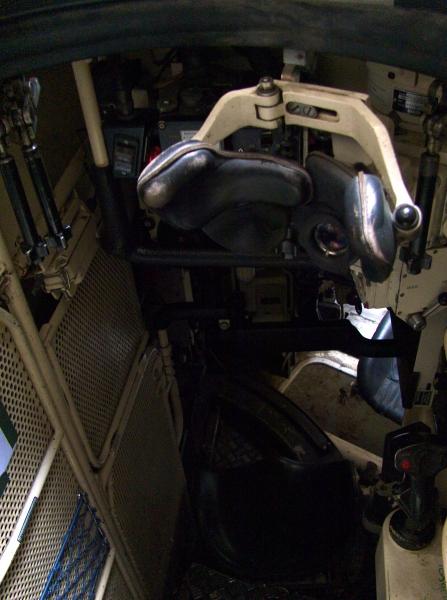 Periscoop-vizier en joystick om het ding mee te bedienen. Bovendien kon ik er het kanon mee vuren. Vroeger dan, in de tank.